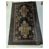 """Blue & Brown Hand Knotted 32x56"""" Wool Area Rug"""