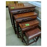 Carved Teak Oriental Nesting Tables