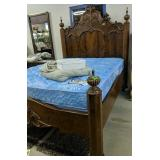 Ornate Walnut Queen Size Bed