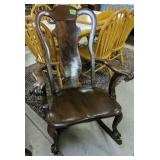 """Ball And Claw Foot 40"""" Walnut Rocking Chair"""