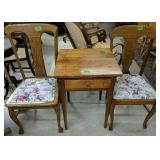 Pair Of Side Chairs, Single Drawer Stand