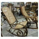 Pair Of Cane Seat Rocking Chairs