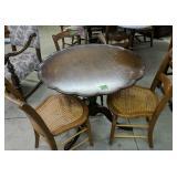 Pie Crust Mahogany Table Three Cane Seat Chairs,