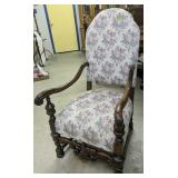 Ornate Upholstered Armchair 46 In Tall