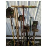 Hand Tools. Shovels, Ax, Post Hole Digger Etc