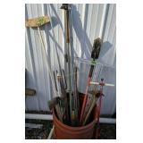 Fuel Cans, Seeder, Barrel, Hand Tools Etc