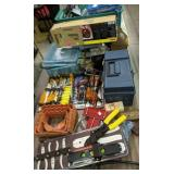 Table Lot Of Tools, Tool Boxes, Pliers Etc