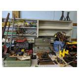 Table Lot Of Tools, Pipe Benders, Rope, Car