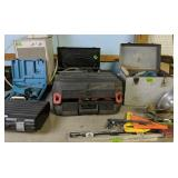 Table Lot Of Power Tools, Levels, Gauges, Makita