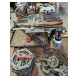 Table Lot Chain Hoist, Squares, Bolt Cutters,