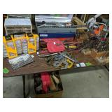 Table Lot Of Hardware Organizers, Drill Bits,