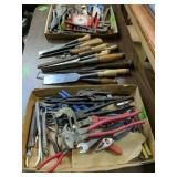 Table Lot Chisels, Hand Tools Etc