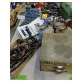 Table Lot Of Gas Cans, Belt Sanders, Files,