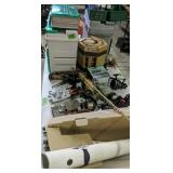Table Lot Of Fishing Supplies. Tackle Boxes,