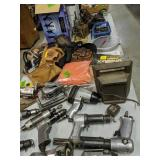 Table Lot Of Tools. Chains Hoist, Hole Saws,