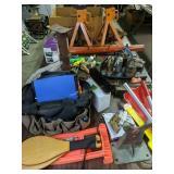 Table Lot Shovel, Cap Guns, Scales, Jacks,