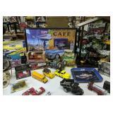 Diecast Cars, Banks, Shelf Etc