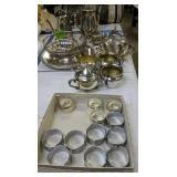 Silver Plate Teapot, Creamer Sugar Etc