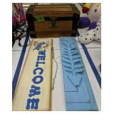 Wood Storage Chest, Welcome Sign, Fish Coat Hanger
