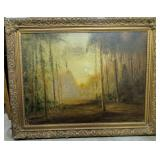 Signed Oil On Canvas Forest Landscape Painting