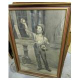 Boy Selling Fruit Charcoal On Paper Painting?