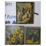 3 Paintings. Flowers , Buildings