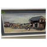 Asian Beach Scene Oil On Board Painting 36x19 In