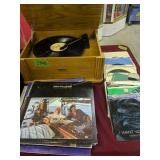 Classic rock albums, 45s, crosley record player