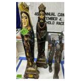 Three Carved African Figurines, Pair Of Carved