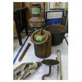 Large Lantern, Cast Iron Pot, Bell, Spike Etc