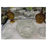Moon And Star Candy Dishes, Press Glass Bowl,