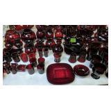 Ruby Red Glass Vases, Glasses Etc