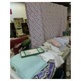 Quilt, Linens, Lace, Tin Punched Panels Etc