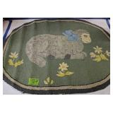 Gray And Green Lamb With Flowers Hooked Rug