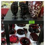 Collection Of Ruby Glass Vases, Plates Etc
