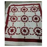"""78x82"""" Red White Star Quilt Topper, Needs Repair"""