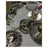 Silver Plate And Crystal Serving Pieces