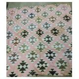 """76x78"""" Pink & Brown Quilt Topper. Some Staining"""