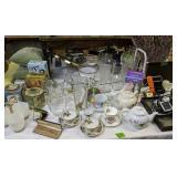 Table Lot Glassware, Fan, Magazine Rack, Tomtom