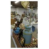 Table Lot Milk Can, Wall Mount Hand Bell, Stool,