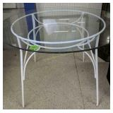Iron Base Glass Top Round Table 42 X 28 In