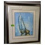 "Framed Sailboat Art Print Signed Rouf 29x33"""