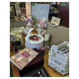 Table Lot Scrapbook Supplies, Candles, Baskets,
