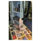 Collection Of Cds, Table Lamp, Bookshelf
