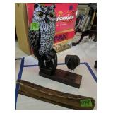 Carved Wood Raven With Owl, Ship Hull