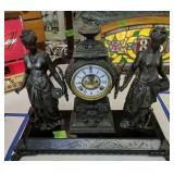 Antique Ansonia Figural Clock Open Escapement