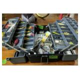 Gray Tackle Box With Fishing Lures