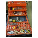 Gray & Orange Tackle Box With Lures, Tackle