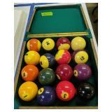 Vintage Pool Billiard Ball Set In Wood Case