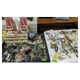 2 Card Tables Of Costume Jewelry